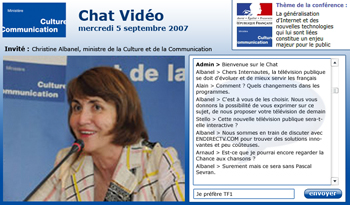 Exemple d'interface Internaute de chat vidéo
